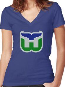 HARTFORD WHALERS HOCKEY RETRO Women's Fitted V-Neck T-Shirt