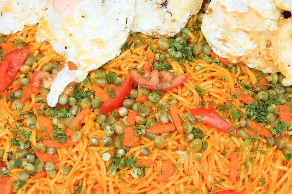 Noodles Vegetables and Fried Eggs by rhamm