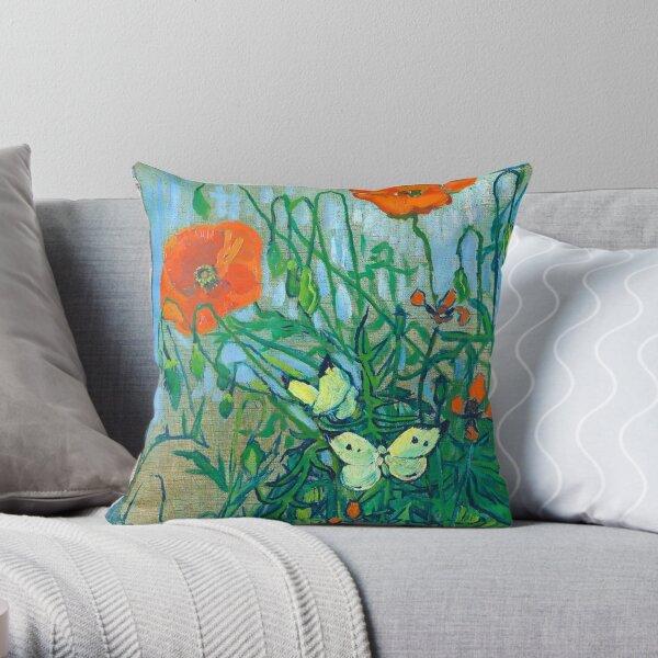 Van Gogh - Butterflies and Poppies, 1890 Throw Pillow