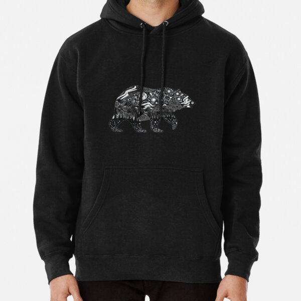 Bear Silhouette with trees, mountains, moon, and stars Pullover Hoodie