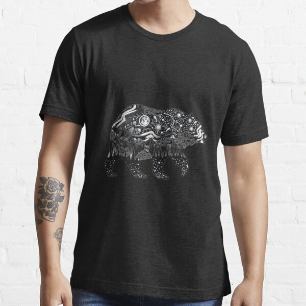 Bear Silhouette with trees, mountains, moon, and stars Essential T-Shirt