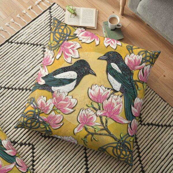 Celtic Magpies & Magnolias Floor Pillow