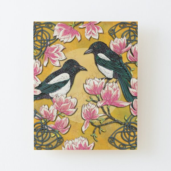 Celtic Magpies & Magnolias Wood Mounted Print