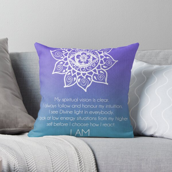Third Eye Chakra Affirmation Throw Pillow