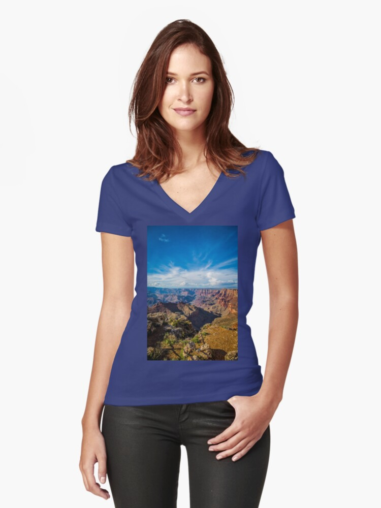 Grand Canyon - Navajo Point View Colorado River Women's Fitted V-Neck T-Shirt Front