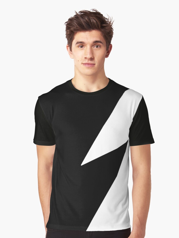 Black and White Lightning Graphic T-Shirt Front