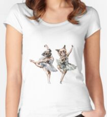 Hipster Ballerinas - Dog Cat Dancers (scattered on beige) Women's Fitted Scoop T-Shirt