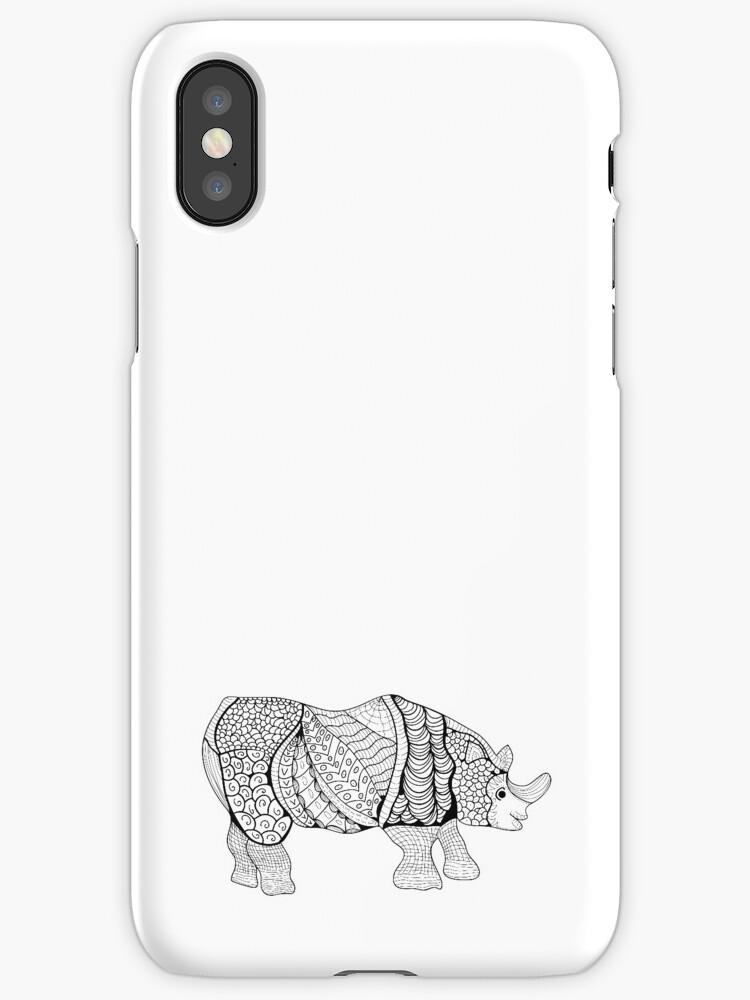 Vinilos y fundas para iPhone «Rinoceronte. Rhino dibujado a mano con ...