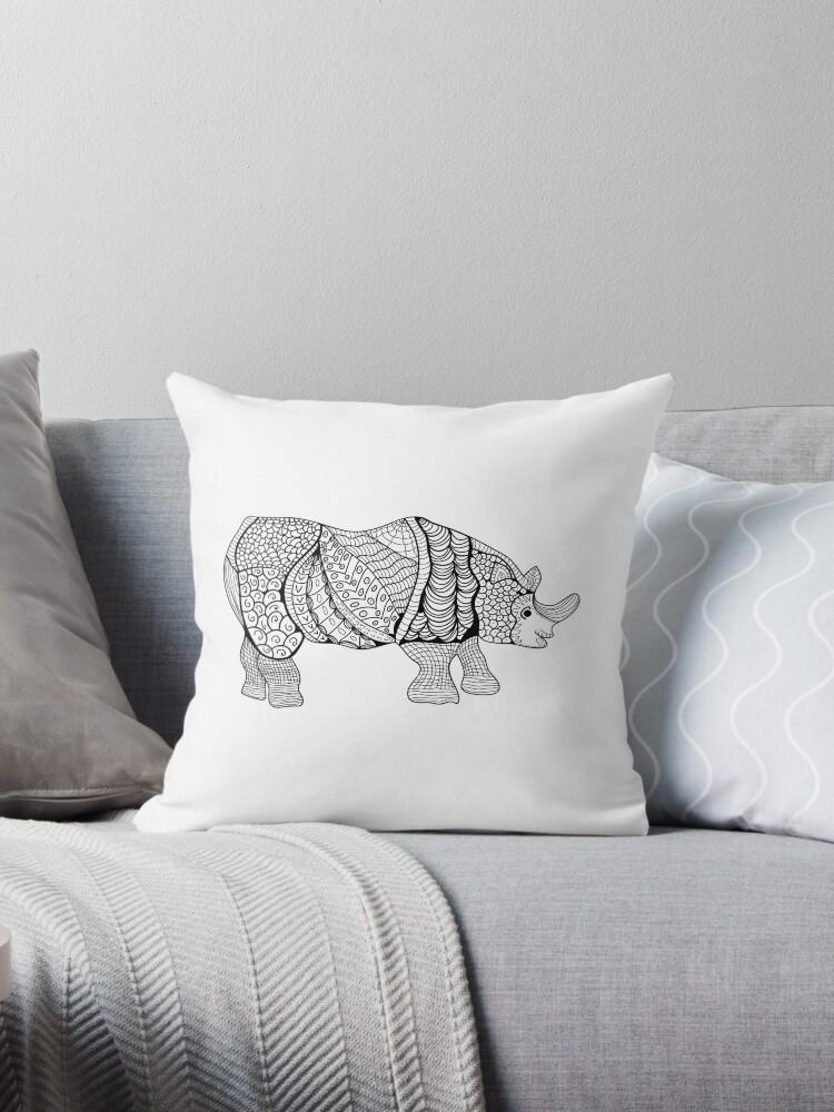 Cojines «Rinoceronte. Rhino dibujado a mano con el patrón étnico ...