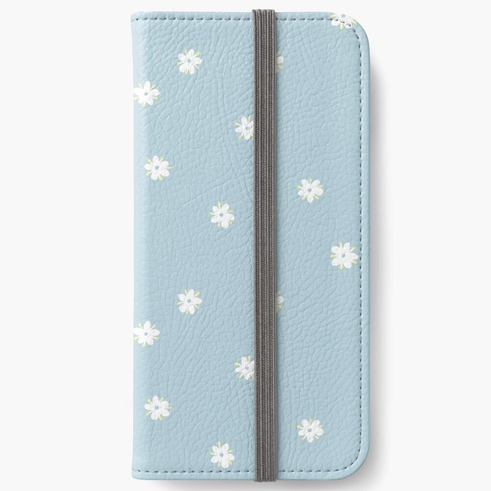 Elderflowers on baby blue, sparse iPhone Wallet