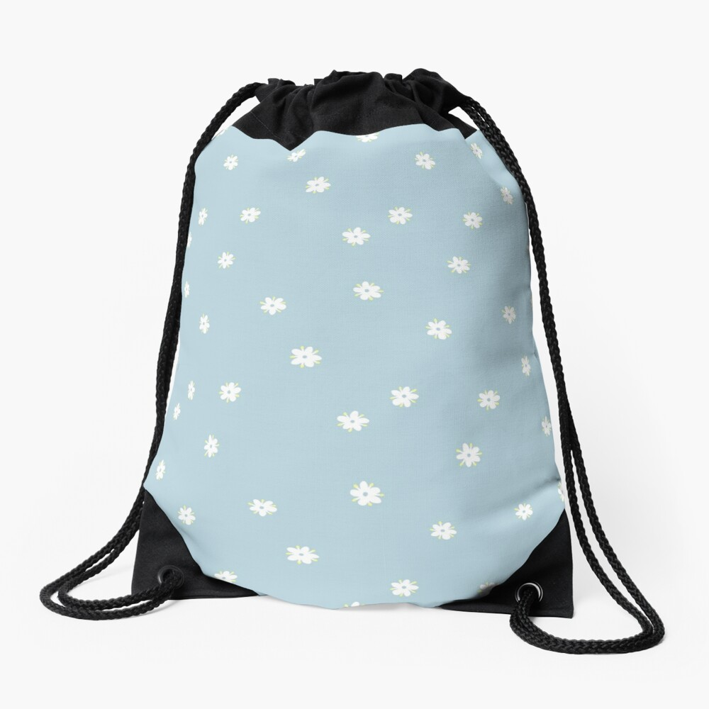 Elderflowers on baby blue, sparse Drawstring Bag
