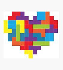 Tetris 8-Bit Heart  Photographic Print