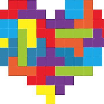 Tetris 8-Bit Heart  by Ronesca