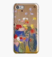 Odilon Redon - Three Vases Of Flowers. Still life with flowers: flowers, blossom, nature, botanical, floral flora, wonderful flower, plants, cute plant for kitchen interior, garden, vase iPhone Case/Skin
