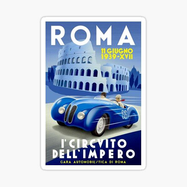"""Impresión de carreras automáticas """"ROMA VINTAGE GRAND PRIX"""" Pegatina"""