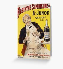 Unknown - Absinthe Superieure Beverage Poster. Man portrait: alcoholic, drinker, drunkard, wino,  fun,  hangover, humor, bottle, glass,  joy, meeting Greeting Card