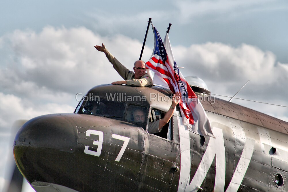 We Love Duxford - DC3 Waves To The Crowd Line - Duxford 2014 by Colin  Williams Photography