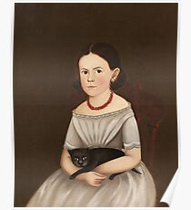 Unknown - Girl With Cat. Girl portrait: girl,  girls,  glad ,  happy,  head and shoulders,  hugging, face with hairs, beautiful dress,  cat,  animal,  childhood  Poster