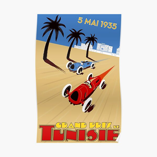 """TUNISIE GRAND PRIX"" Impression de course automobile Poster"
