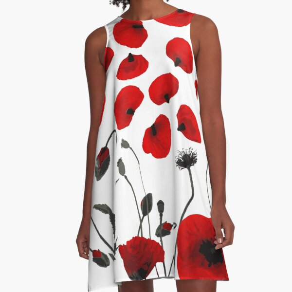 Modern Black and Red Flowers and Petals A-Line Dress