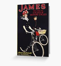 Unknown - James - The King Of Cycles & Motorcycles Poster. Woman portrait: sensual woman,  bicycle ,  bicycling ,  cycle,  cycling,  enjoy,  free time,  fun,  hobbies,  hobby,  holiday Greeting Card