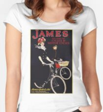 Unknown - James - The King Of Cycles & Motorcycles Poster. Woman portrait: sensual woman,  bicycle ,  bicycling ,  cycle,  cycling,  enjoy,  free time,  fun,  hobbies,  hobby,  holiday Women's Fitted Scoop T-Shirt