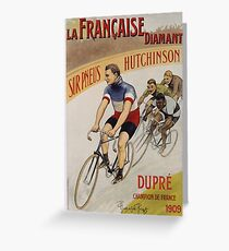 Unknown - La Francaise Diamant Poster. People portrait: man, bicycle ,  bicycling ,  cycle,  cycling,  enjoy,  free time,  fun,  hobbies,  hobby,  holiday Greeting Card