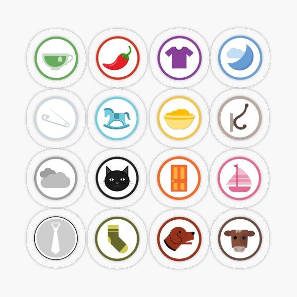 Full Set of Color Vowel Anchor Images Transparent Sticker