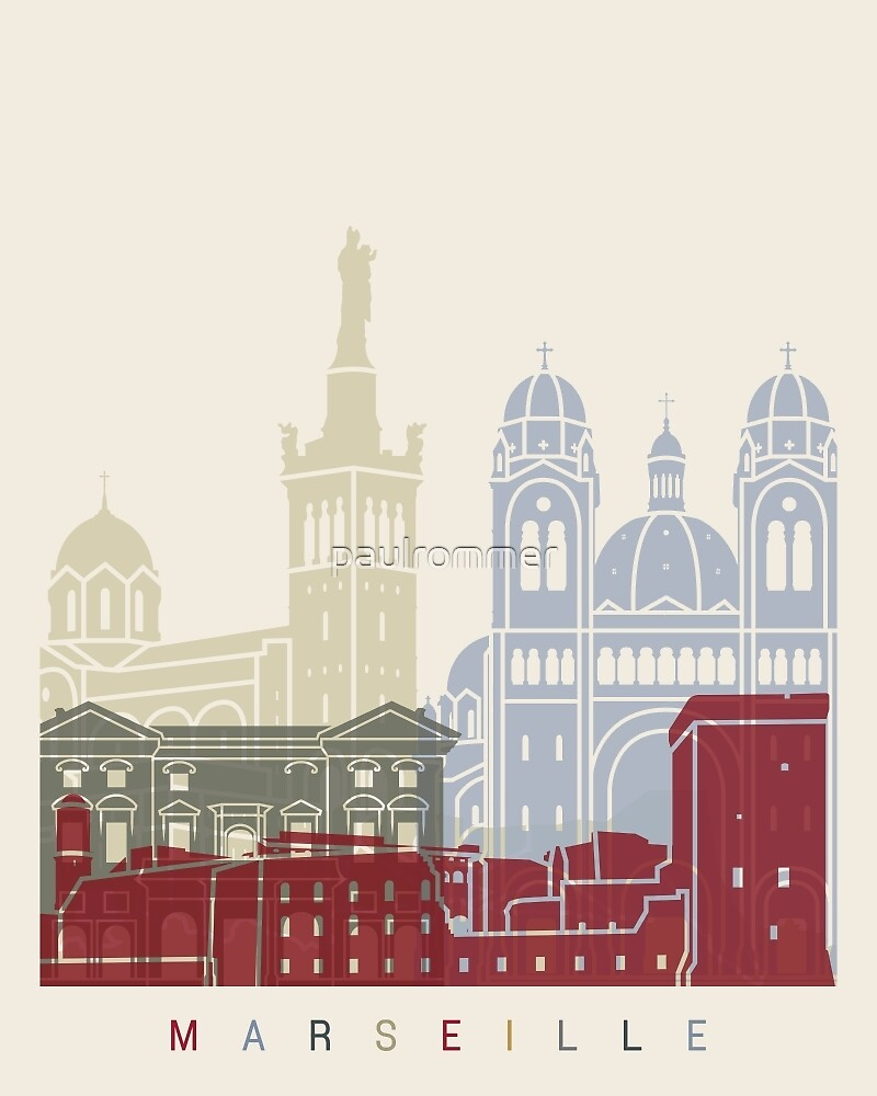Marseille skyline poster by paulrommer