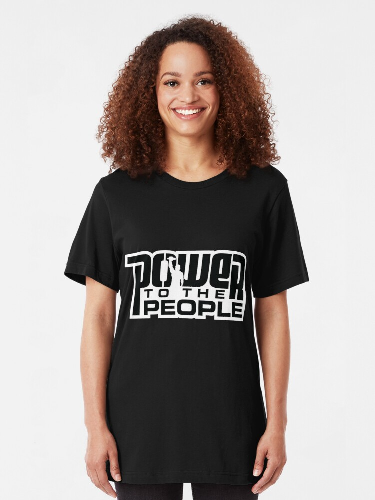 Alternate view of Power To The People - BLACK Slim Fit T-Shirt