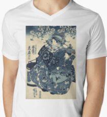 Utagawa Kuniyoshi - The Courtesan Hanao Of Ogi-Ya. Woman portrait: sensual woman, geisha, kimono, courtesan, silk, beautiful dress, umbrella, wig, lady, exotic, beauty T-Shirt