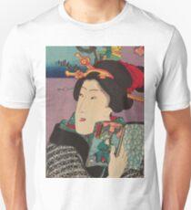 Utagawa Kunisada - Landscapes and Beauties: Feeling Like Reading the Next Volume.   Woman portrait: woman, geisha, kimono, dream, feeling, umbrella, dress, fashion , female, makeup, wig T-Shirt