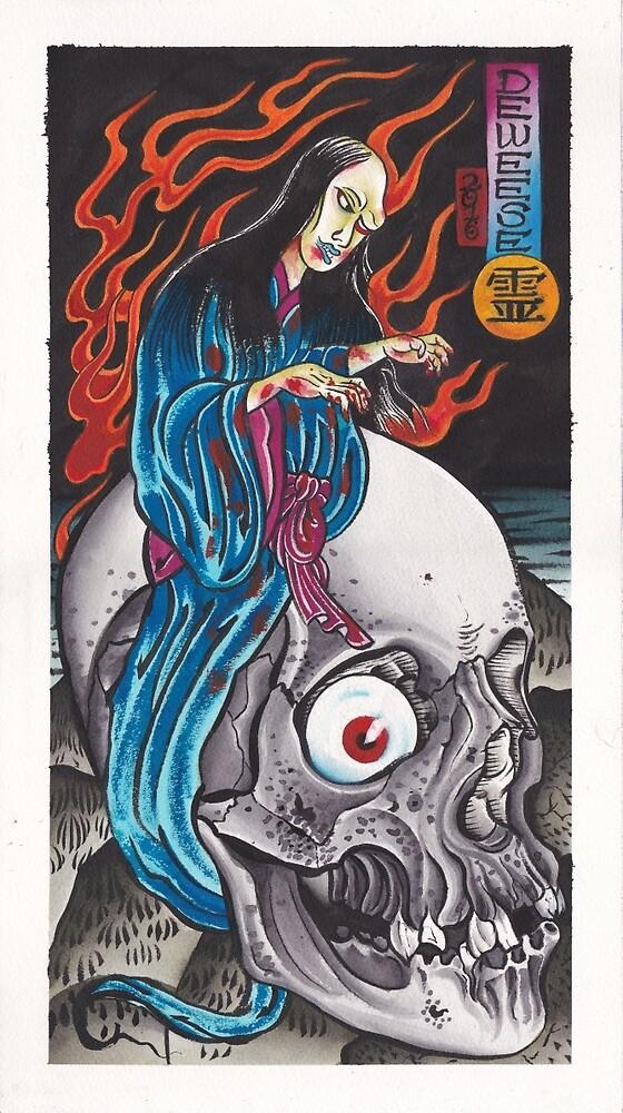 Original Japanese Watercolor Painting of Yurei on Skull by johndeweese