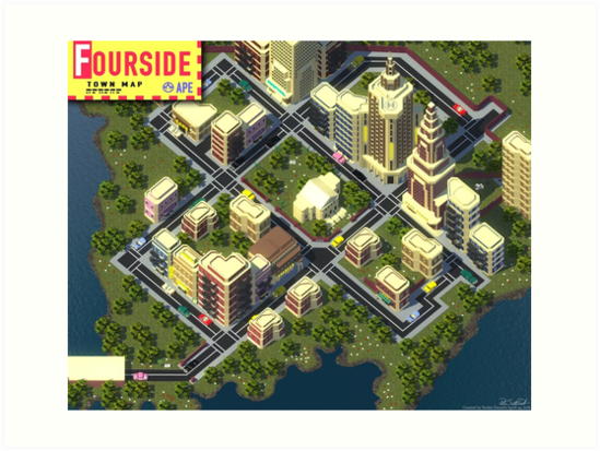 EarthBound Fourside Map by Parker Daniels