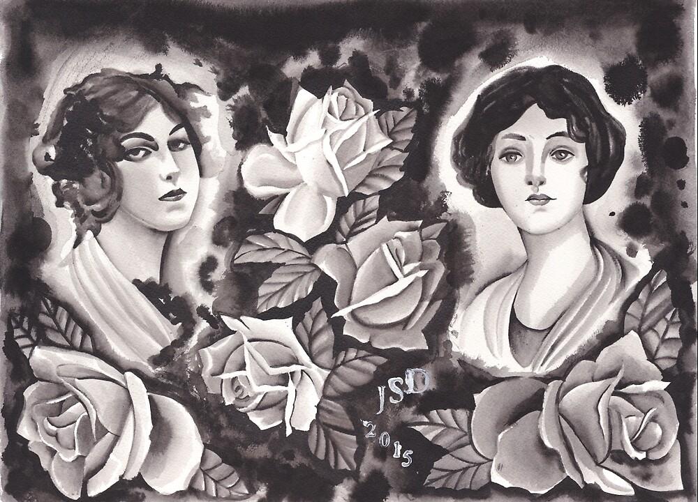 Original Watercolor Tattoo Flash Painting by johndeweese