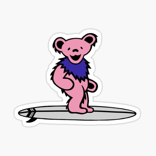 Dancing Bear on surf board Sticker
