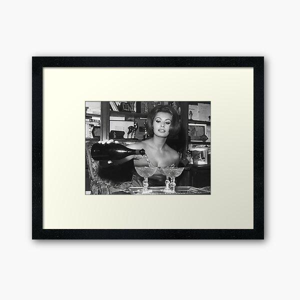 Sophia Loren Pouring Champagne, Black and White Vintage Wall Art Framed Art Print