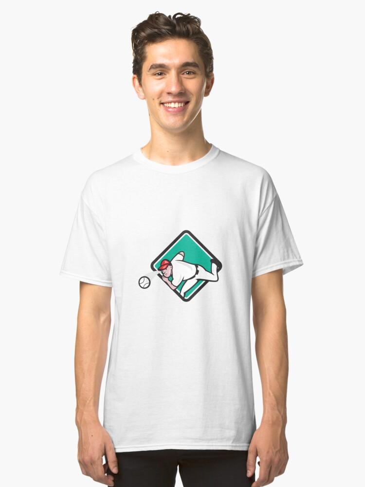 Baseball Pitcher Outfielder Throw Ball Diamond Cartoon Classic T-Shirt Front
