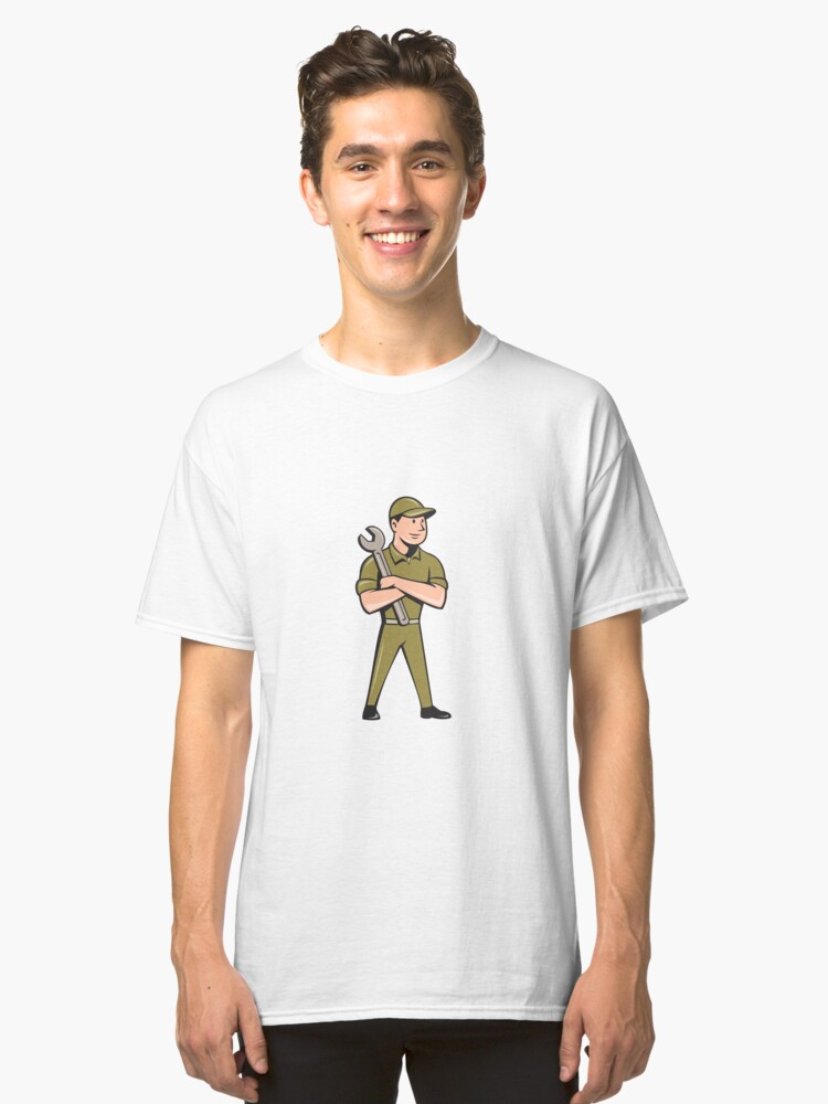 Mechanic Arms Crossed Spanner Cartoon Classic T-Shirt Front