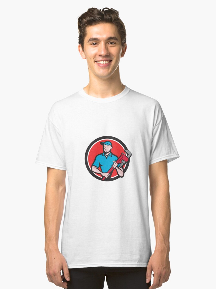 Plumber Holding Monkey Wrench Circle Cartoon Classic T-Shirt Front
