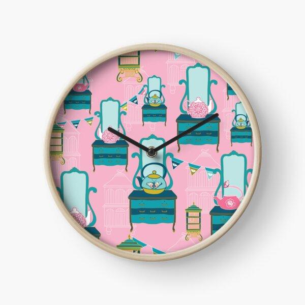 Vintage Dressers and Tea Pots by Creative Bee Studios Clock