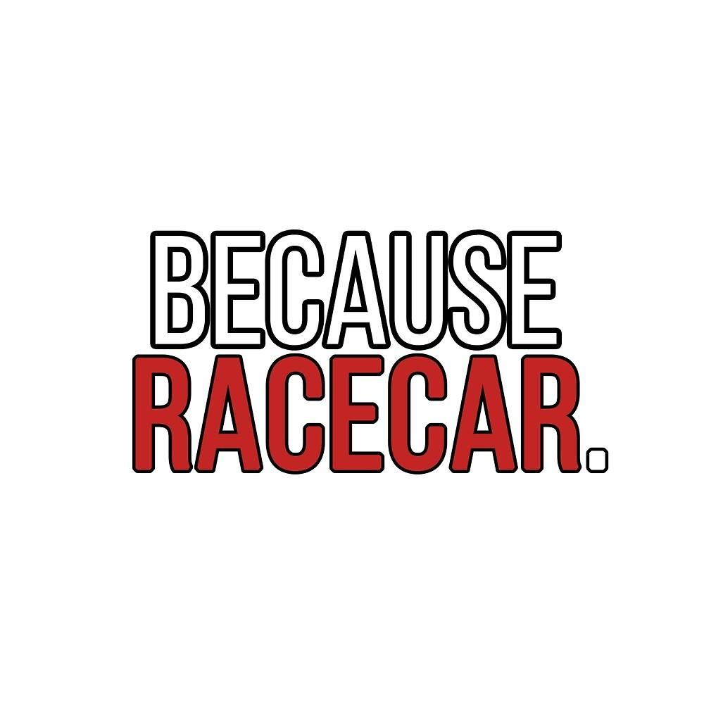 Because Racecar Sticker by jaj-works