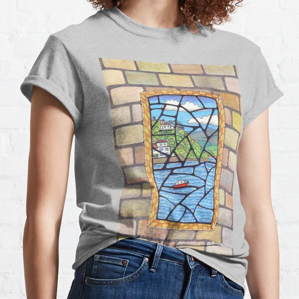 533 - BORTH-Y-GEST STAINED GLASS WINDOW - DAVE EDWARDS - COLOURED PENCILS - 2021 Classic T-Shirt