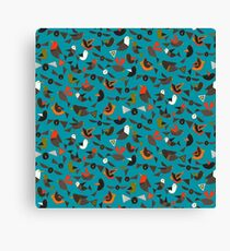 just birds teal blue Canvas Print