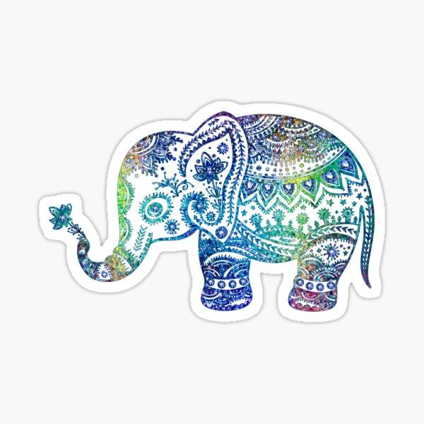 Colorful Elephant Glitter Texture Sticker