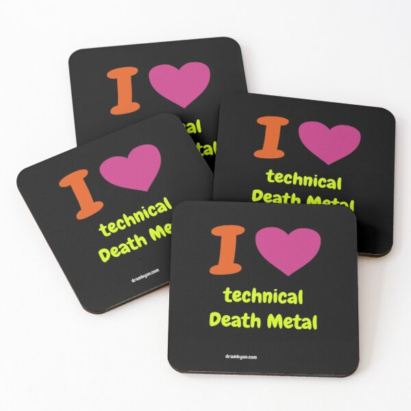 I LOVE technical Death Metal Coasters (Set of 4)
