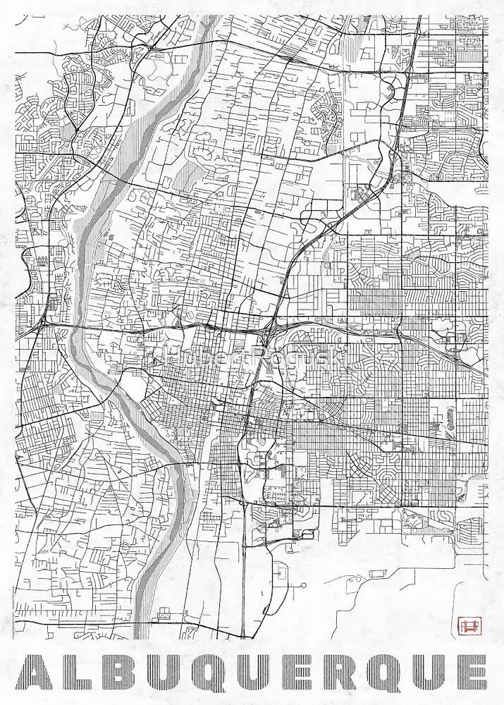 Albuquerque Map Line by HubertRoguski