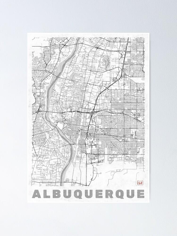Alternate view of Albuquerque Map Line Poster