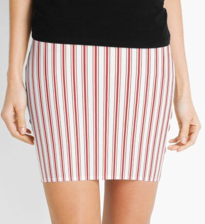 Mattress Ticking Narrow Striped Pattern in Red and White Mini Skirt