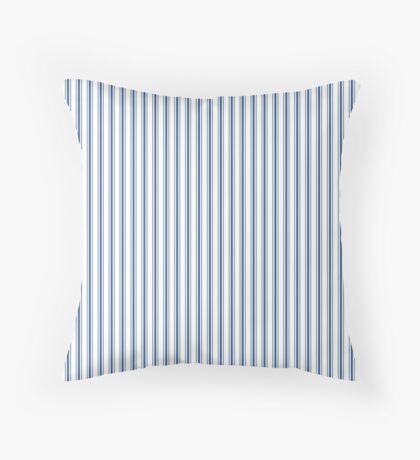 Mattress Ticking Narrow Striped Pattern in Dark Blue and White Throw Pillow